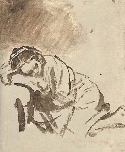 Rembrandt woman_sleeping